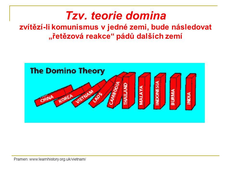 """Tzv. teorie domina zvítězí-li komunismus v jedné zemi, bude následovat """"řetězová reakce pádů dalších zemí"""