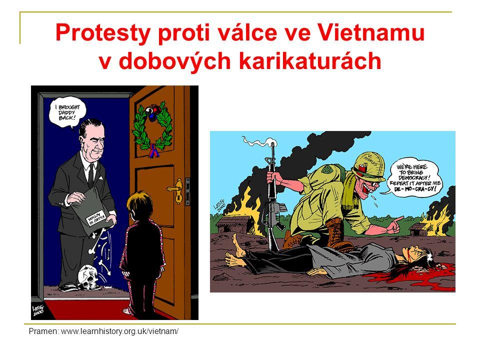 Protesty proti válce ve Vietnamu v dobových karikaturách