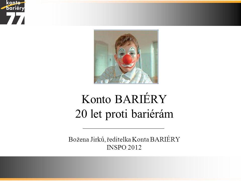 Konto BARIÉRY 20 let proti bariérám Božena Jirků, ředitelka Konta BARIÉRY INSPO 2012