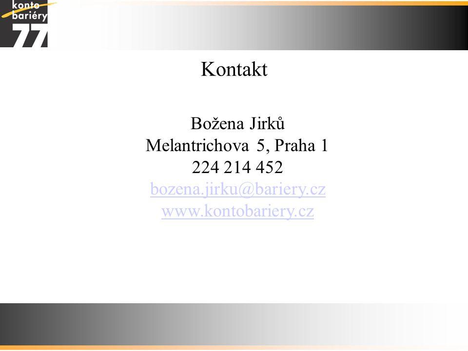 Kontakt Božena Jirků Melantrichova 5, Praha 1 224 214 452 bozena.jirku@bariery.cz www.kontobariery.cz.