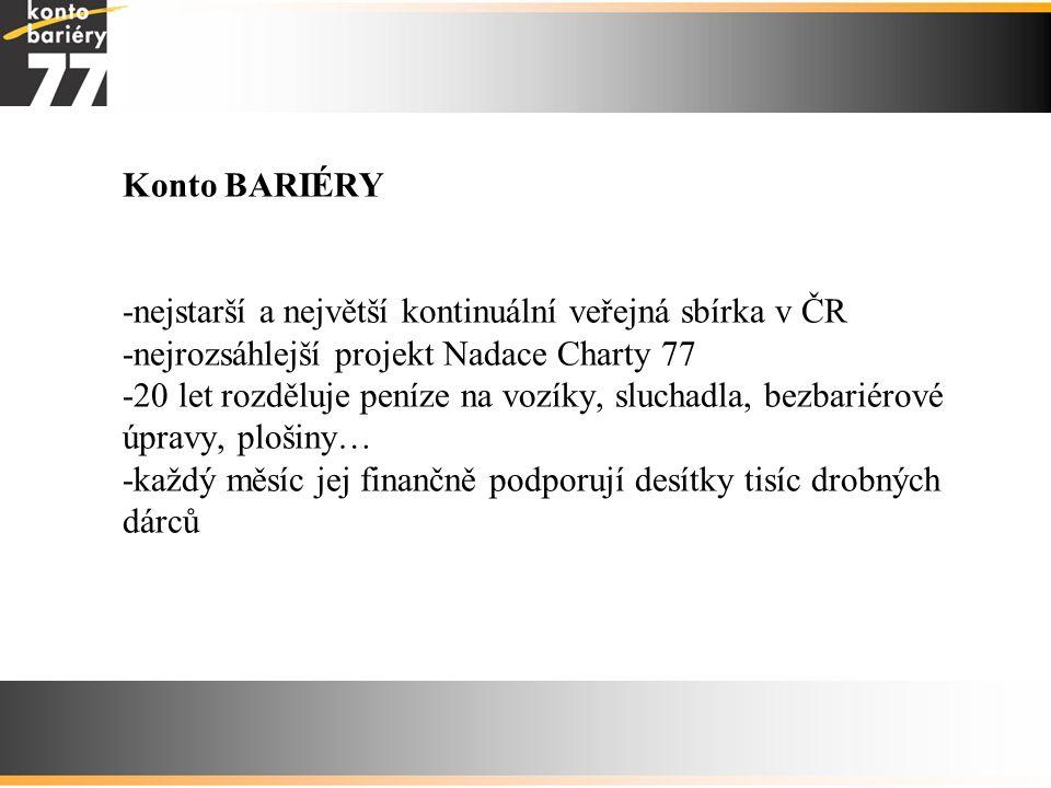 Konto BARIÉRY -nejstarší a největší kontinuální veřejná sbírka v ČR -nejrozsáhlejší projekt Nadace Charty 77 -20 let rozděluje peníze na vozíky, sluchadla, bezbariérové úpravy, plošiny… -každý měsíc jej finančně podporují desítky tisíc drobných dárců