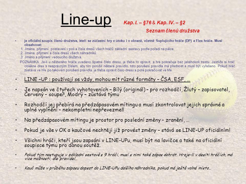 Line-up Kap. I. – §76 & Kap. IV. – §2 Seznam členů družstva