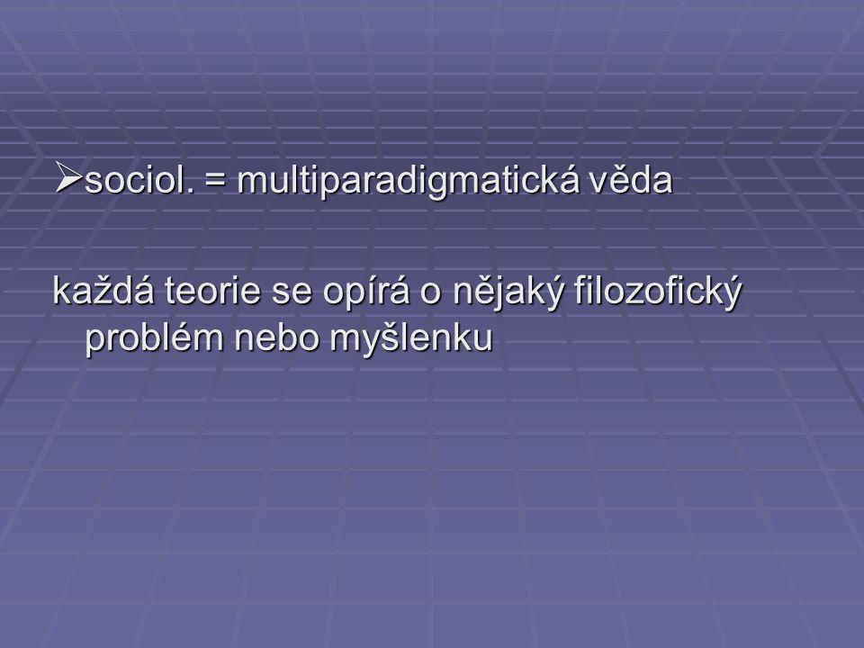 sociol. = multiparadigmatická věda