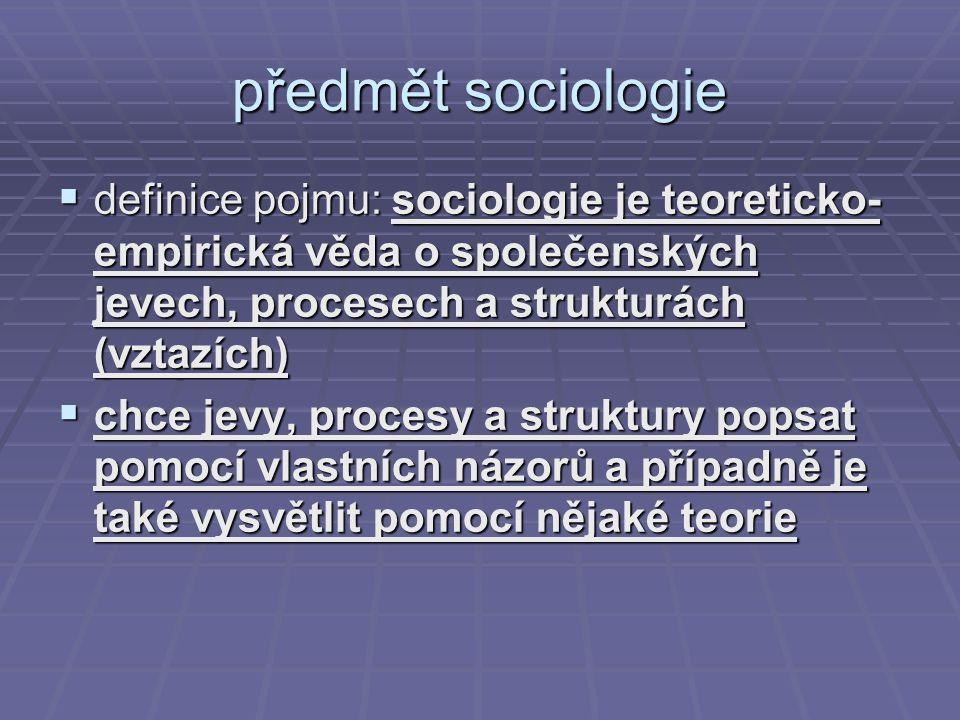 předmět sociologie definice pojmu: sociologie je teoreticko-empirická věda o společenských jevech, procesech a strukturách (vztazích)
