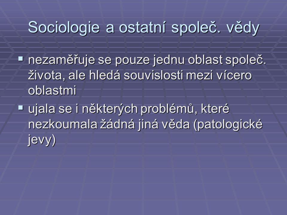 Sociologie a ostatní společ. vědy