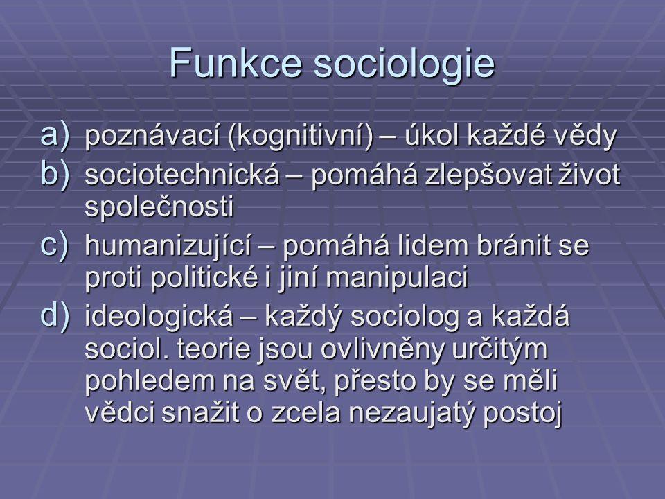 Funkce sociologie poznávací (kognitivní) – úkol každé vědy