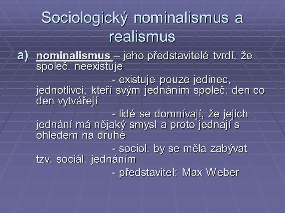 Sociologický nominalismus a realismus