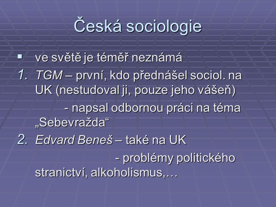Česká sociologie ve světě je téměř neznámá