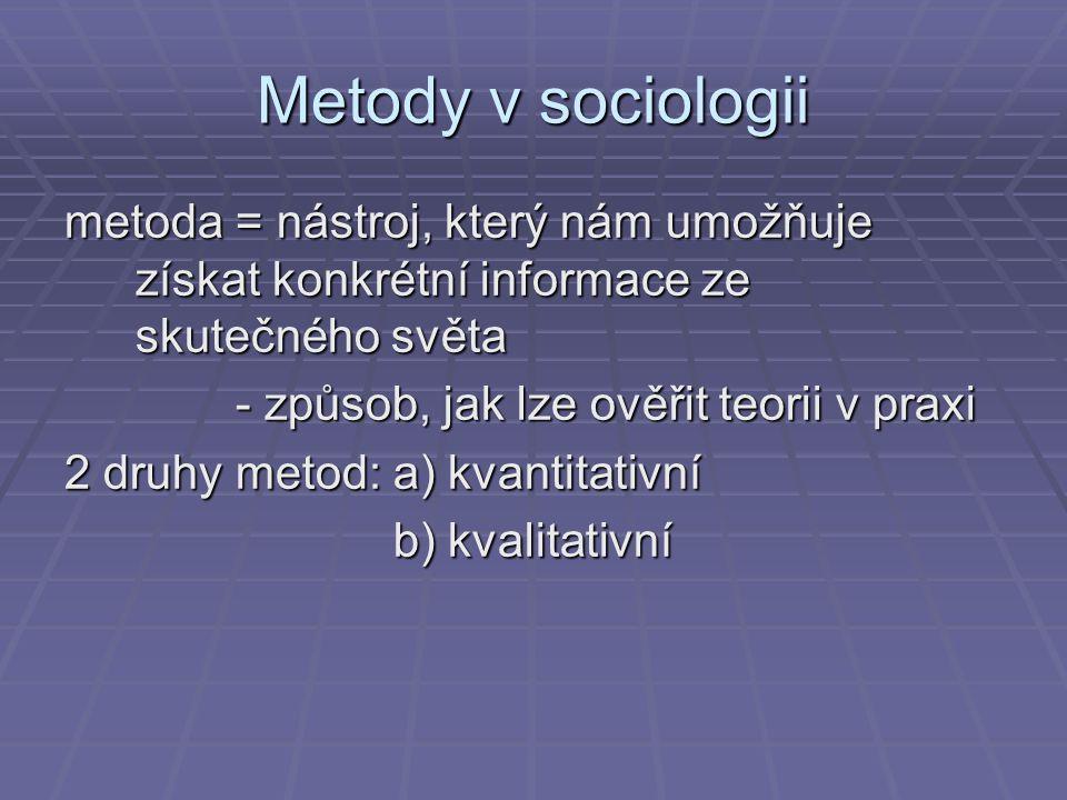 Metody v sociologii metoda = nástroj, který nám umožňuje získat konkrétní informace ze skutečného světa.