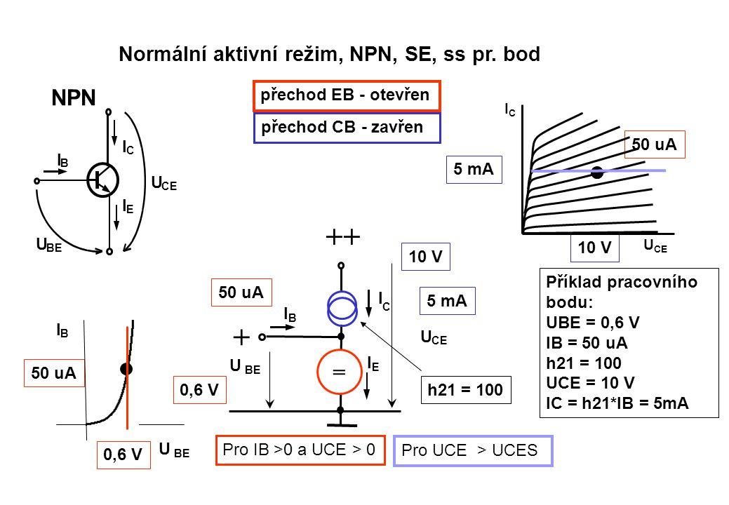 ++ + NPN = Normální aktivní režim, NPN, SE, ss pr. bod