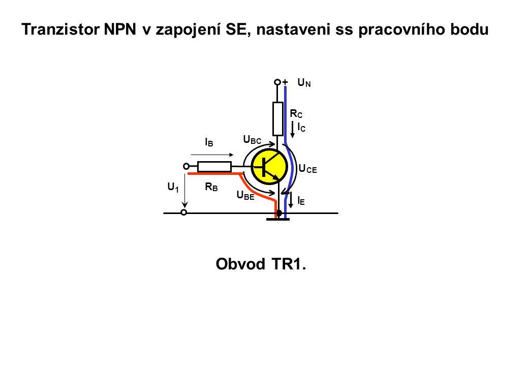 Tranzistor NPN v zapojení SE, nastaveni ss pracovního bodu