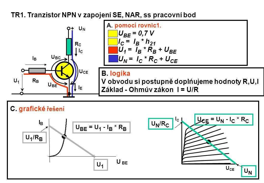 TR1. Tranzistor NPN v zapojení SE, NAR, ss pracovní bod