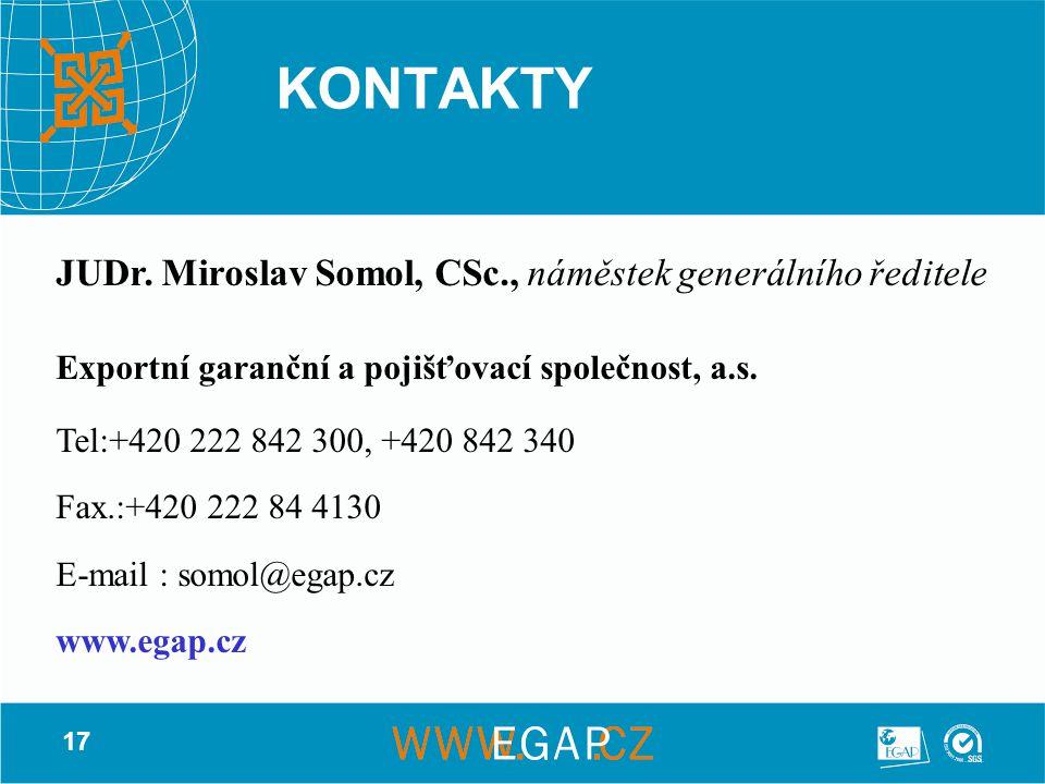 KONTAKTY JUDr. Miroslav Somol, CSc., náměstek generálního ředitele