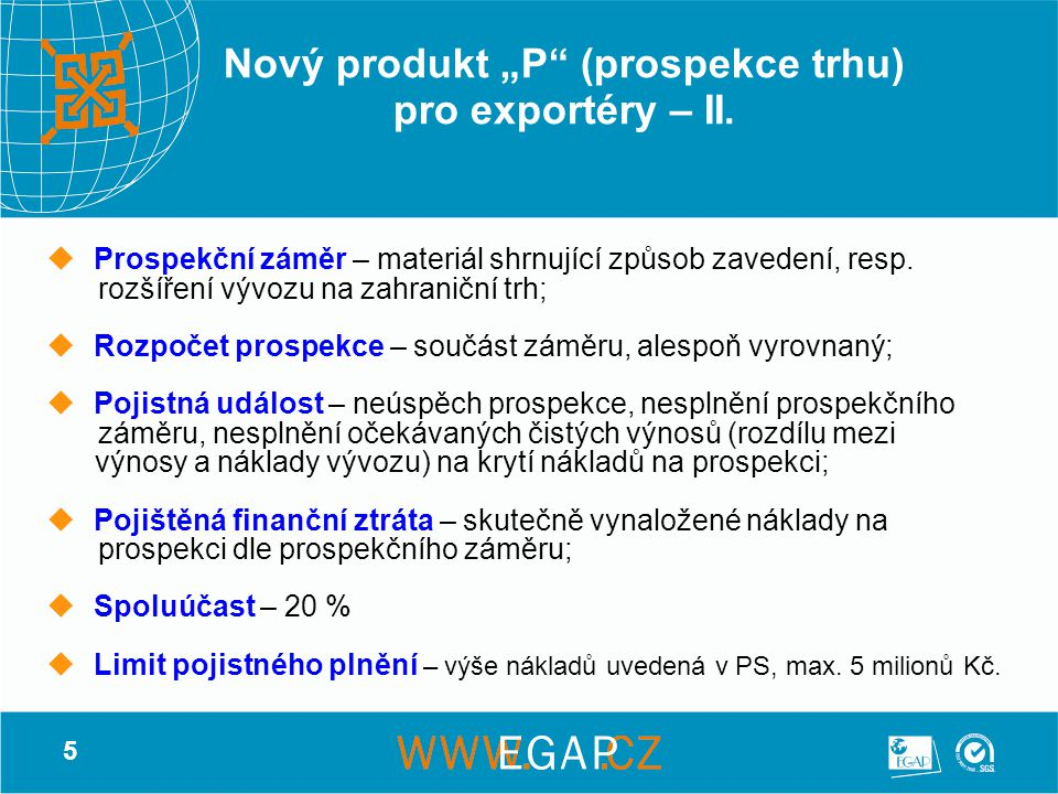 """Nový produkt """"P (prospekce trhu) pro exportéry – II."""