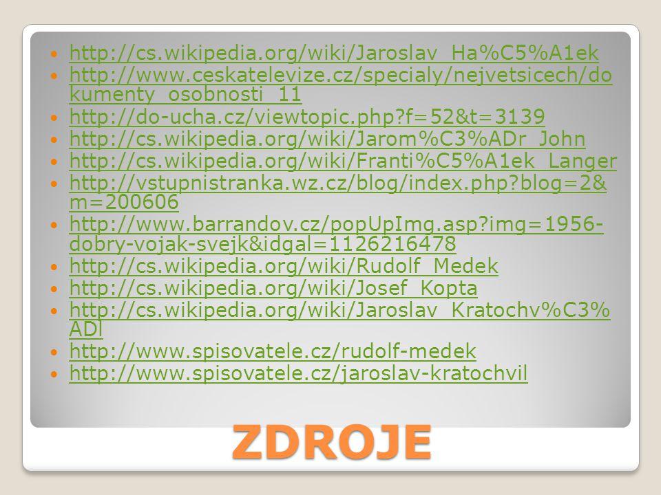 ZDROJE http://cs.wikipedia.org/wiki/Jaroslav_Ha%C5%A1ek