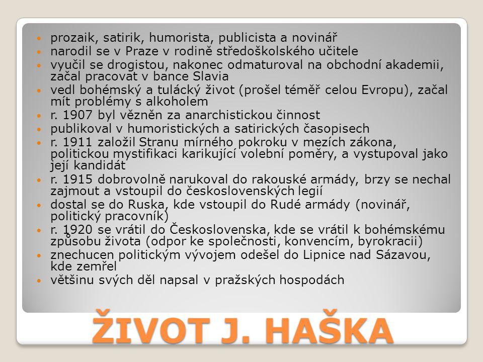 ŽIVOT J. HAŠKA prozaik, satirik, humorista, publicista a novinář