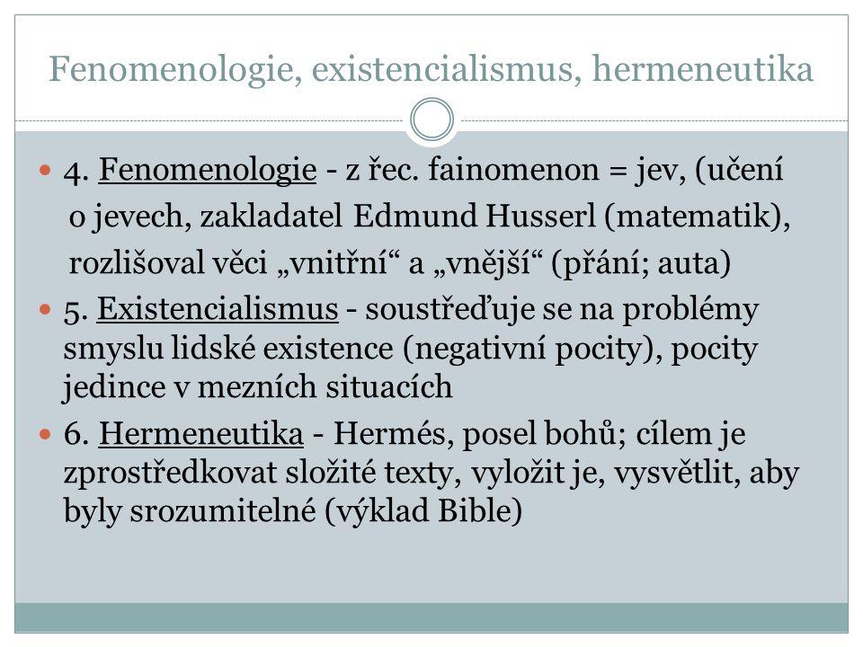 Fenomenologie, existencialismus, hermeneutika