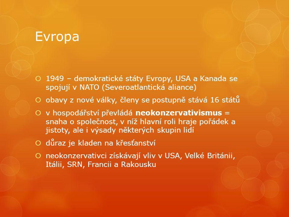 Evropa 1949 – demokratické státy Evropy, USA a Kanada se spojují v NATO (Severoatlantická aliance)