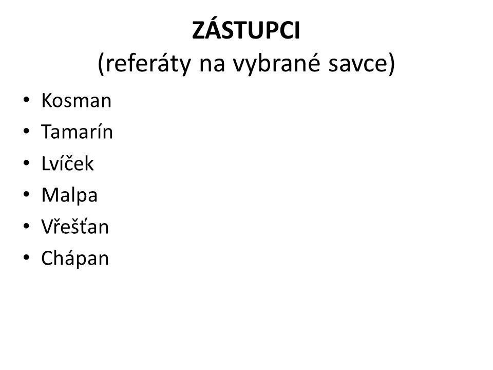 ZÁSTUPCI (referáty na vybrané savce)