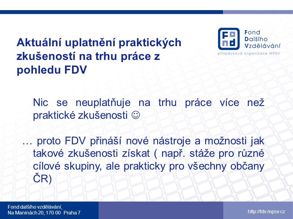 Aktuální uplatnění praktických zkušeností na trhu práce z pohledu FDV