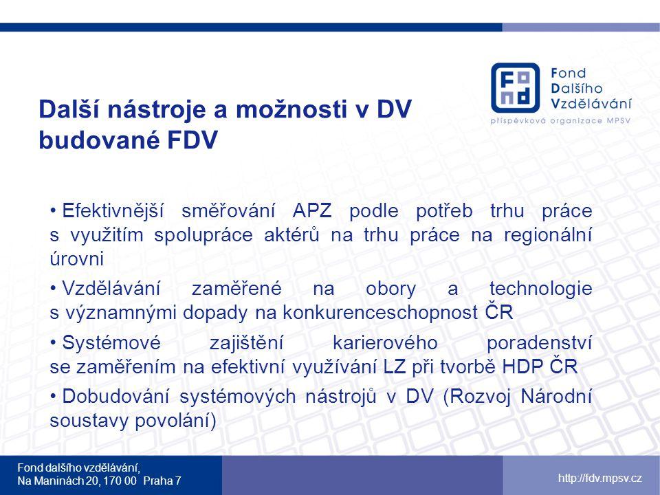 Další nástroje a možnosti v DV budované FDV