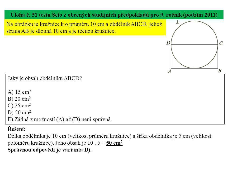 Úloha č. 51 testu Scio z obecných studijních předpokladů pro 9