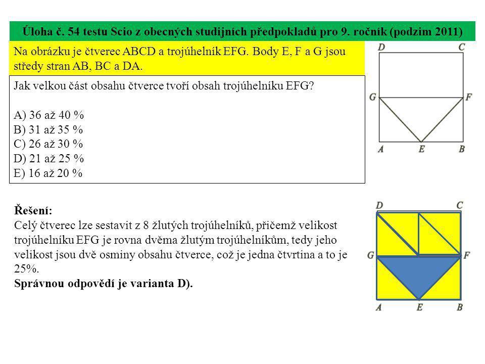 Úloha č. 54 testu Scio z obecných studijních předpokladů pro 9