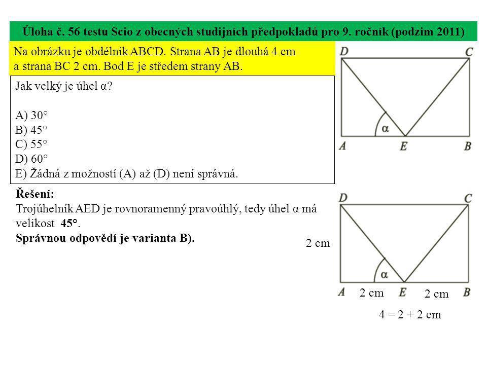 Úloha č. 56 testu Scio z obecných studijních předpokladů pro 9