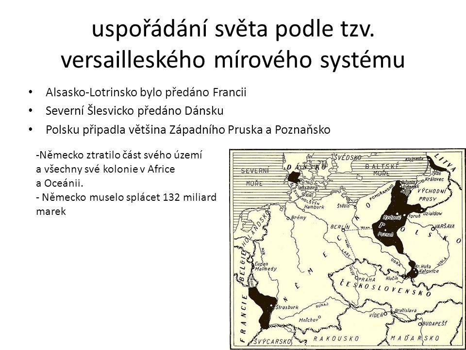 uspořádání světa podle tzv. versailleského mírového systému