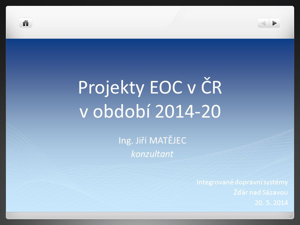 Projekty EOC v ČR v období 2014-20