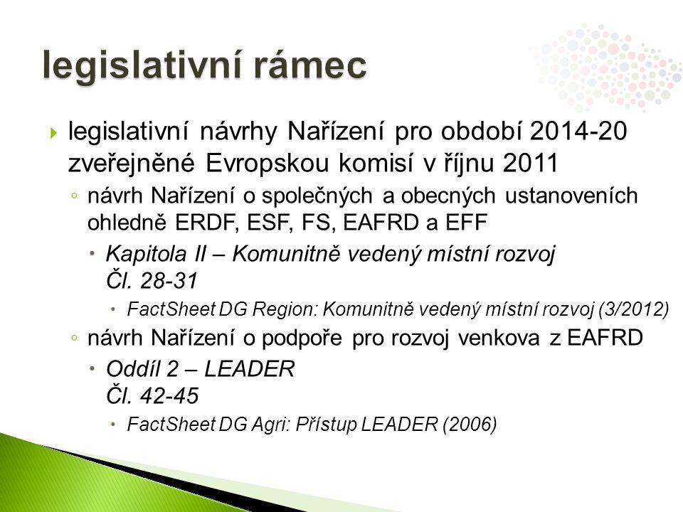 legislativní rámec legislativní návrhy Nařízení pro období 2014-20 zveřejněné Evropskou komisí v říjnu 2011.