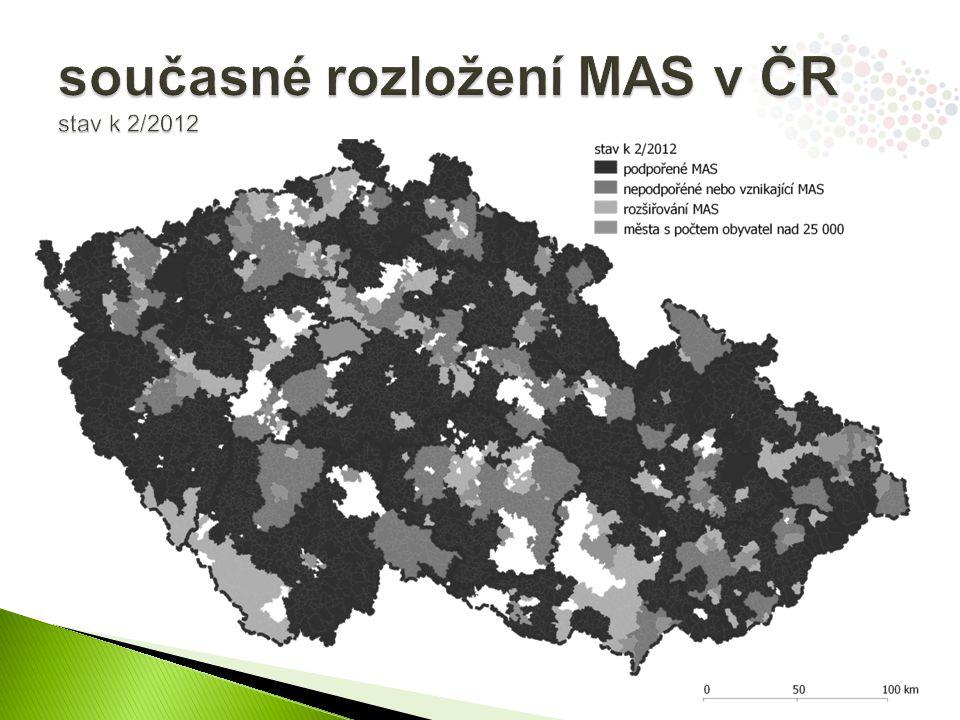 současné rozložení MAS v ČR stav k 2/2012