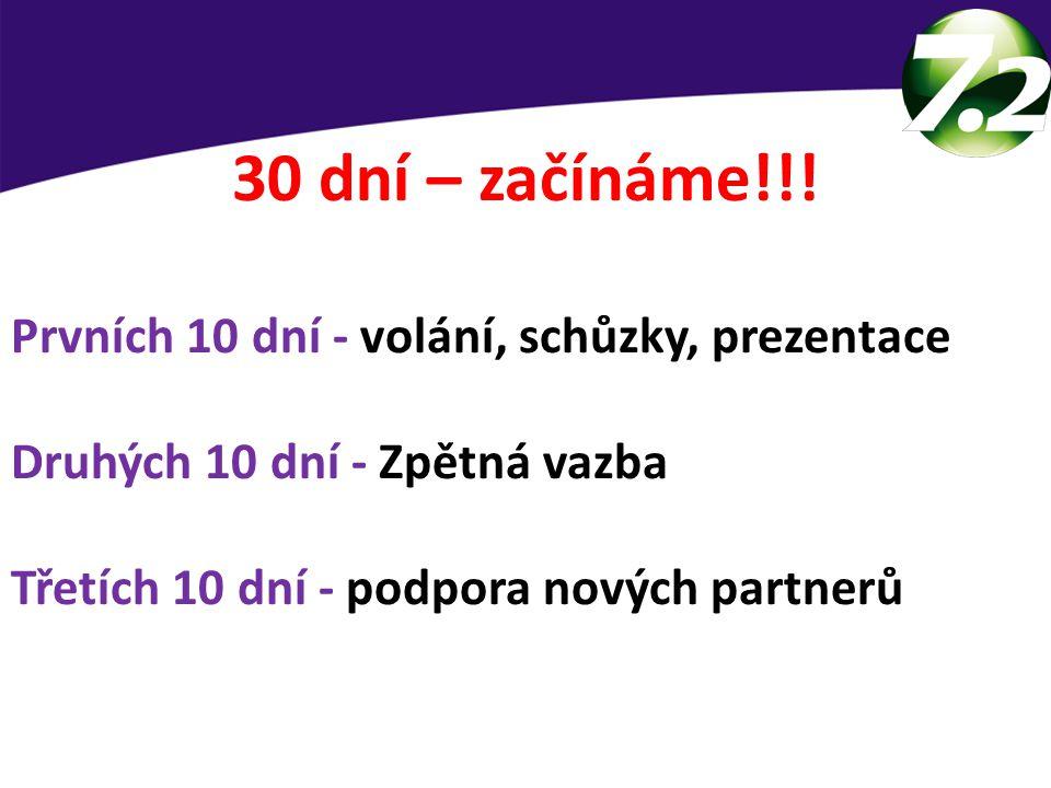30 dní – začínáme!!! Prvních 10 dní - volání, schůzky, prezentace