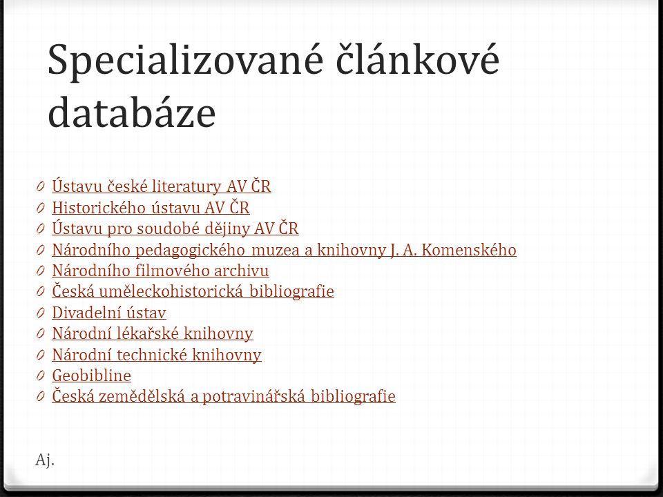 Specializované článkové databáze