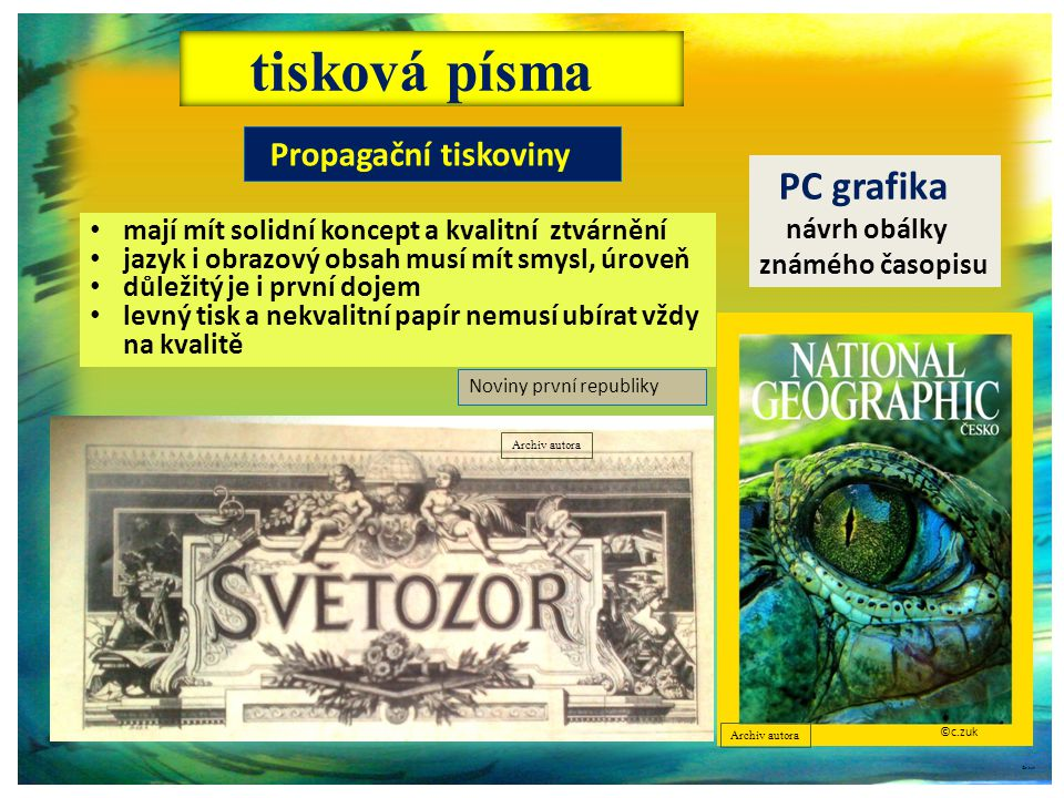 tisková písma PC grafika Propagační tiskoviny