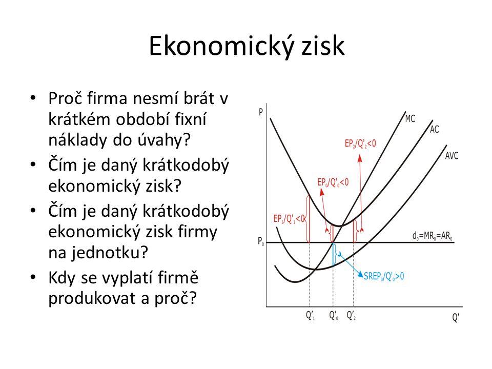 Ekonomický zisk Proč firma nesmí brát v krátkém období fixní náklady do úvahy Čím je daný krátkodobý ekonomický zisk