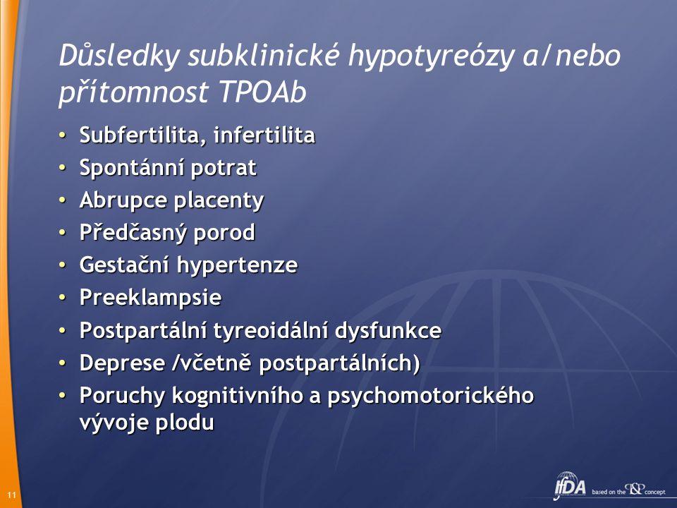Důsledky subklinické hypotyreózy a/nebo přítomnost TPOAb