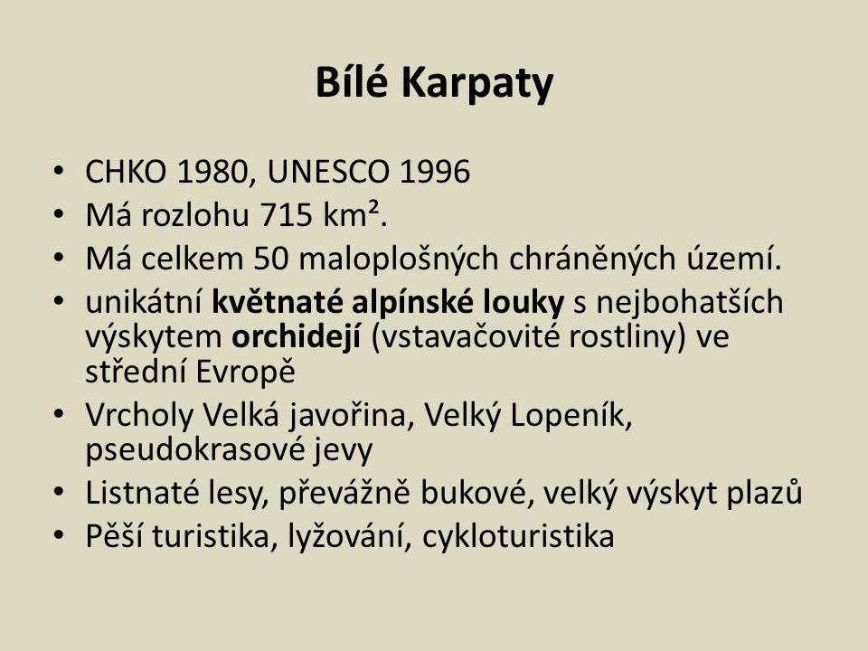 Bílé Karpaty CHKO 1980, UNESCO 1996 Má rozlohu 715 km².