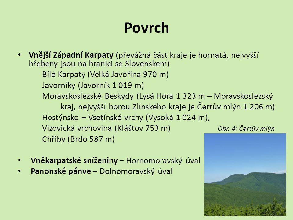 Povrch Vnější Západní Karpaty (převážná část kraje je hornatá, nejvyšší hřebeny jsou na hranici se Slovenskem)