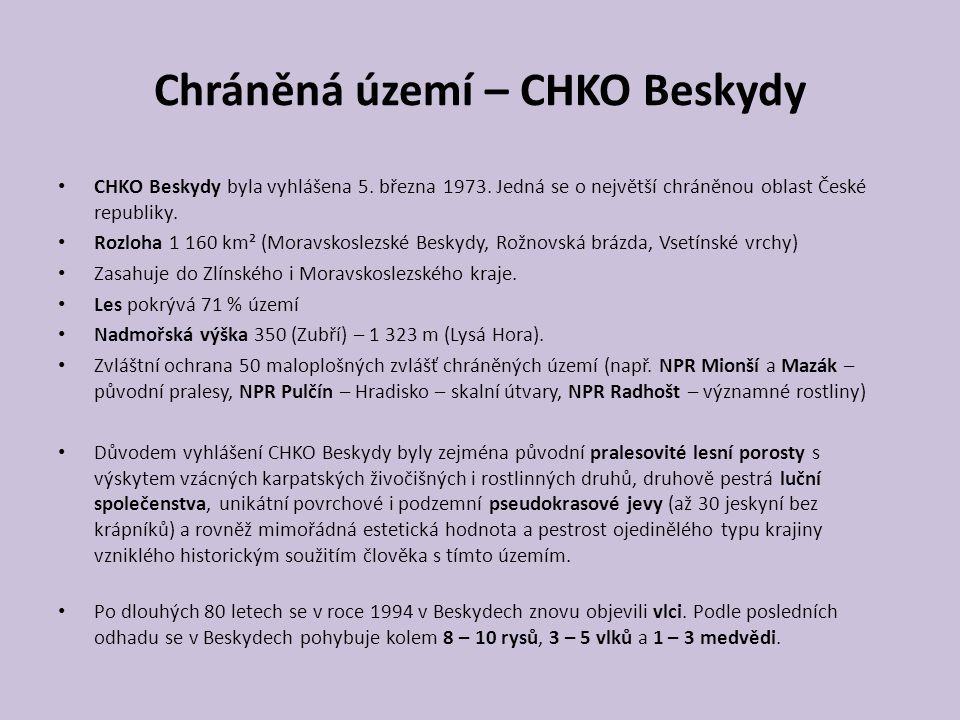 Chráněná území – CHKO Beskydy