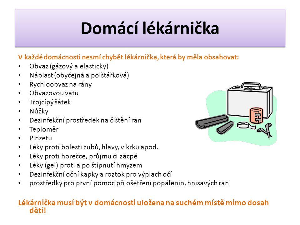 Domácí lékárnička V každé domácnosti nesmí chybět lékárnička, která by měla obsahovat: Obvaz (gázový a elastický)