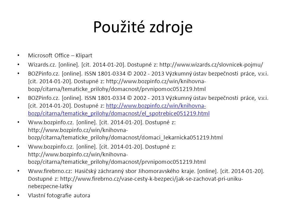 Použité zdroje Microsoft Office – Klipart
