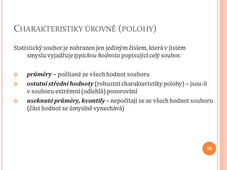 Charakteristiky úrovně (polohy)