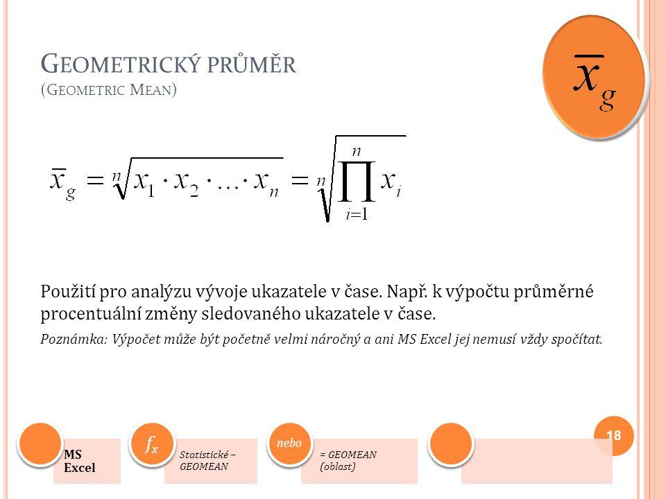 Geometrický průměr (Geometric Mean)