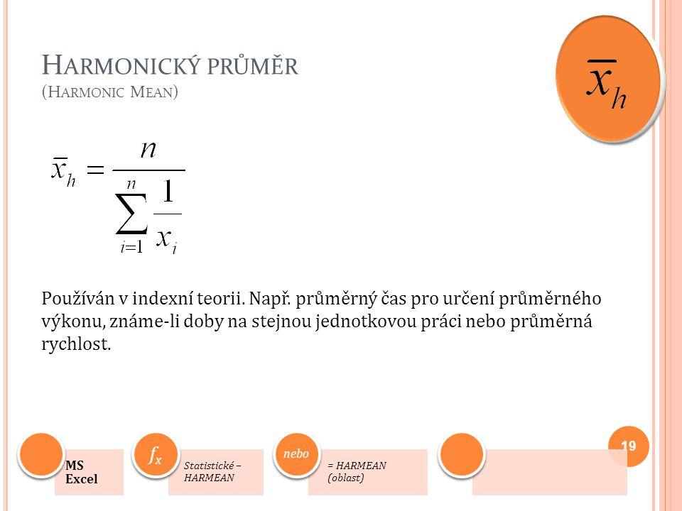 Harmonický průměr (Harmonic Mean)