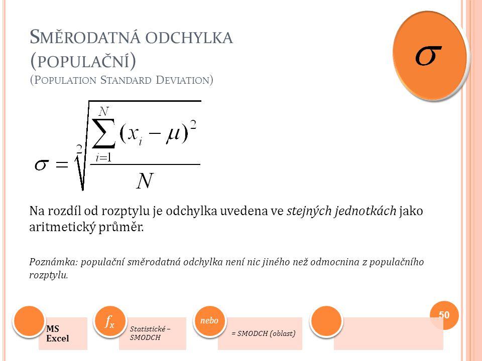 Směrodatná odchylka (populační) (Population Standard Deviation)