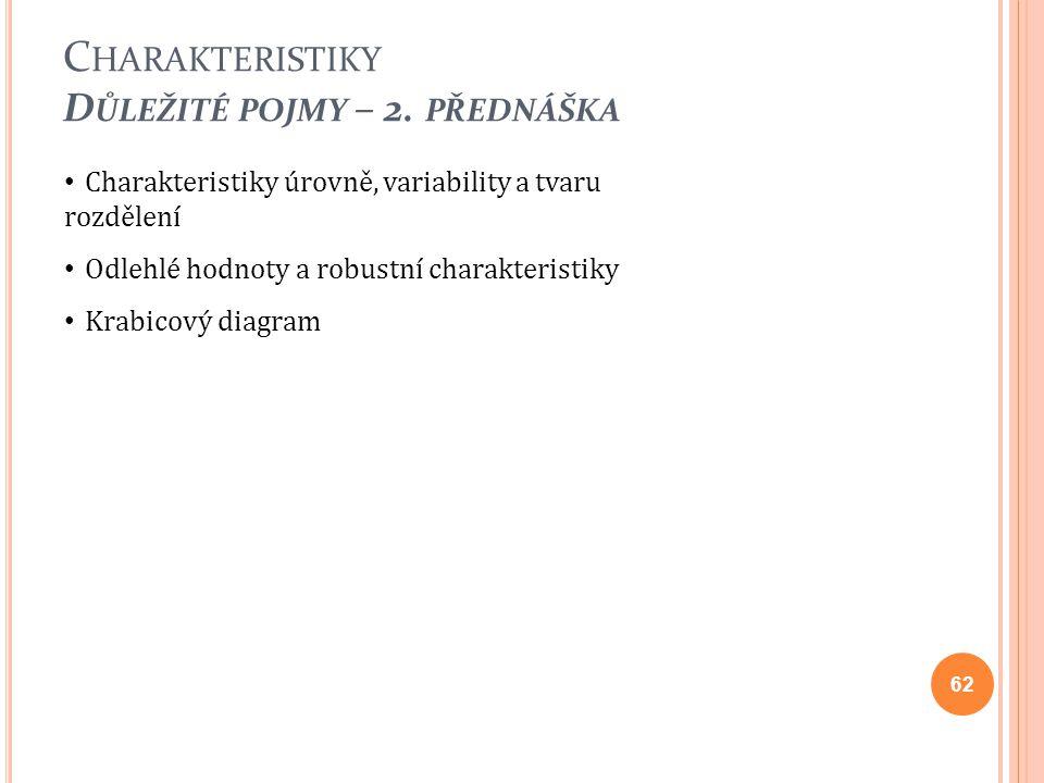 Charakteristiky Důležité pojmy – 2. přednáška