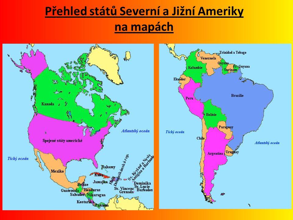 Přehled států Severní a Jižní Ameriky na mapách