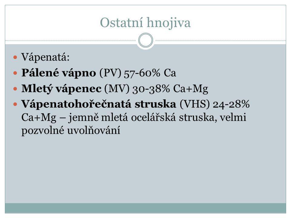 Ostatní hnojiva Vápenatá: Pálené vápno (PV) 57-60% Ca