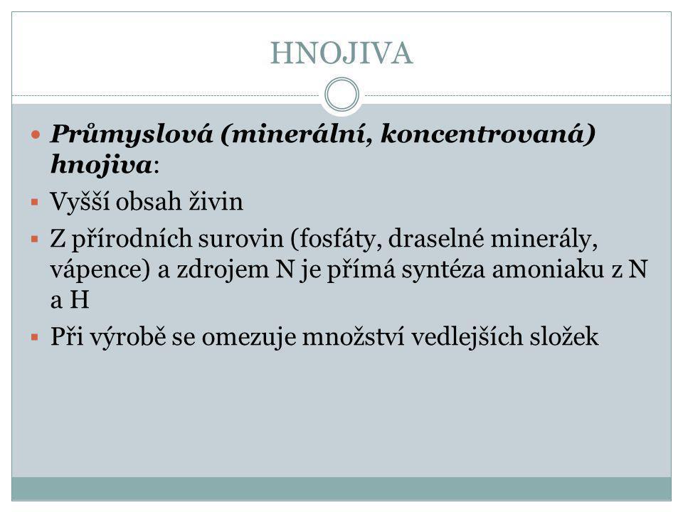 HNOJIVA Průmyslová (minerální, koncentrovaná) hnojiva: